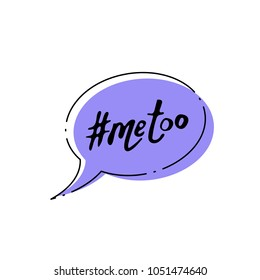 Hashtag Me too. Handwritten lettering Metoo. Vector illustration.