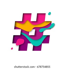 Hashtag or number sign or hash character. 3d letter with paper cut texture effect and color multi layers