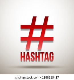 Hashtag red sign icon illustration Isolated on white background. Hashtag red icon. Simple element illustration. symbol design from Social Media Marketing collection