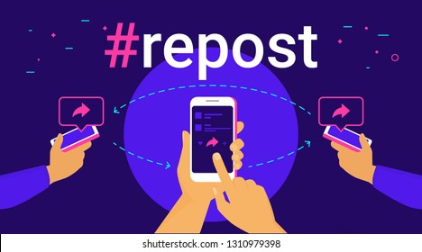 Hashtag repost concept flat vector illustration of human hands hold smart phones and push repost button on the screen sharing to friends. Social media hashtag and speech bubbles with share symbols
