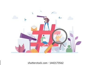 Hashtag SEO Vector Illustration Concept Showing how a hastag keyword has been plan for a good SEO, Suitable for landing page, ui, web, App intro card, editorial, flyer, and banner.