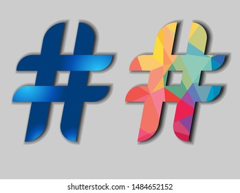 Hash-tag sign with blue gradient and colorful geometric Hash-tag logo.