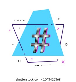 Hashtag sign with geometric shapes. Glitch chromatic aberration trendy effect. Element for graphic design - blog, social media, banner, poster, flyer, card. Vector illustration.
