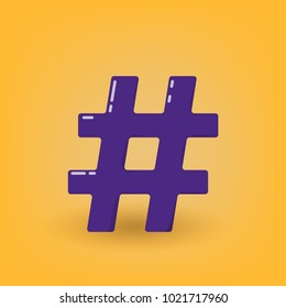 Hashtag sign isolated.  Element for banner, poster, flyer, brochure, greeting card. Vector illustration.