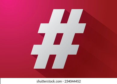 Hash-tag sign with long shadow on red background