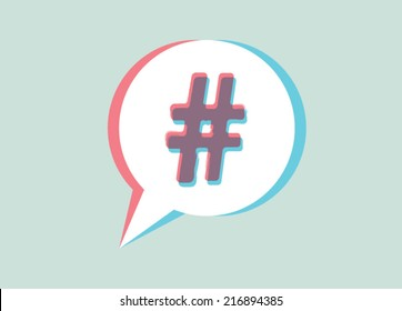 hashtag sign in speech bubble
