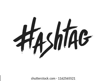 Hashtag signs. Number sign, hash, or pound sign. Hand painted symbols isolated on a white background. Vector illustration