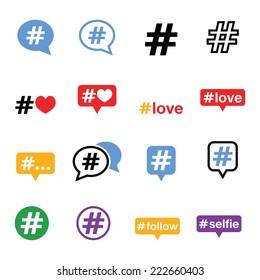 Hashtag, social media icons set