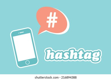hashtag speech bubble with smart phone
