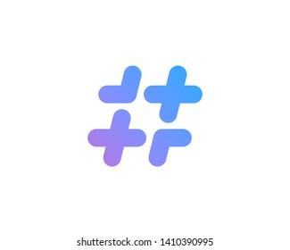 Hashtag symbol cross plus logo icon design template elements