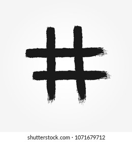 Hashtag symbol drawn by hand with rough brush. Isolated icon, sign, logo. Grunge, graffiti, sketch, watercolor, paint. Vector illustration.
