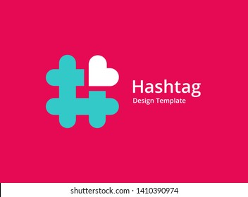 Hashtag symbol heart logo icon design template elements