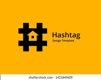 Hashtag symbol house logo icon design template elements