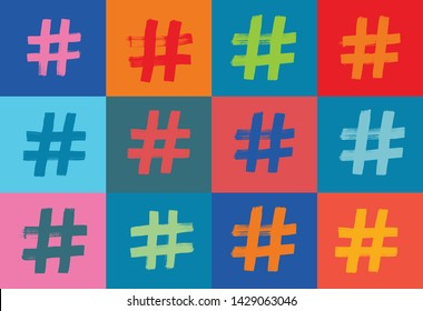 Hashtag Symbol Pattern, Colorful Background, Illustration, Hash tags, Grunge Texture, Hashtag Symbol, Pattern, Colorful Background, Grunge Texture, hashtag,blogging, brush stroke, hash tagging
