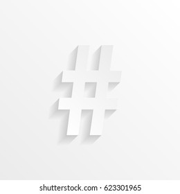 Hashtag symbol with shadow. Cut paper isolated on a white background. Vector illustration.