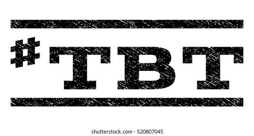 Hashtag Tbt watermark stamp. Text tag between horizontal parallel lines with grunge design style. Rubber seal stamp with dust texture. Vector black color ink imprint on a white background.