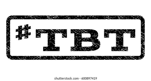 Hashtag Tbt watermark stamp. Text caption inside rounded rectangle with grunge design style. Rubber seal stamp with dirty texture. Vector black ink imprint on a white background.