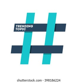 hashtag trending topic sign isolated in white background