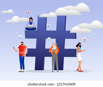 Hashtag vector concept. People with laptops and smartphones are sitting on and around hashtag sign. Social media. Characters design