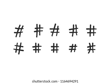 Hashtag vector hand drawn icons. Hashtag ink paint color brush stroke