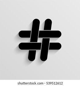 Hashtag vector icon with  shadow