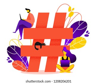 Hashtag vector illustration. Concept of hashtag for social media marketing advertising, blogging, media planning, promotion in social network in flat style