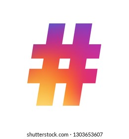 Hashtag  vintage illustration painted colors of the rainbow. Blur logo. Icon concept.