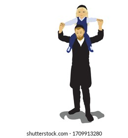 Hasidic father. An ultra-Orthodox Jew raises his little son on his shoulders. Upsherin celebration - a Jewish party before the boy's first haircut. Flat vector drawing of an isolated character.