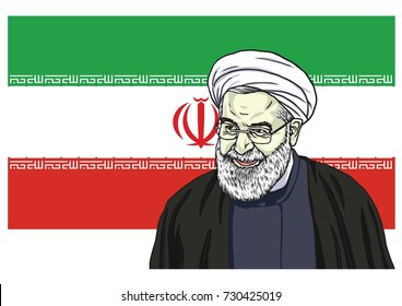 Hassan Rouhani Vector Portrait Drawing Cartoon Caricature Illustration with Flag of Iran. October 9, 2017