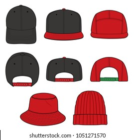 Hat beanie design illustration flat sketches template