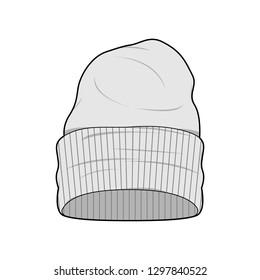 Hat Beanie Fashion Flat Sketche vector template