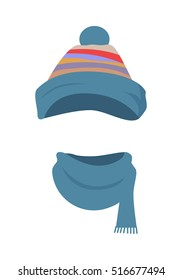 Hat. Colourful striped headwear in triangle shape and twisted around scarf with one short end. Warm and stylish winter cap and scarf on white background and flat design. Vector illustration.