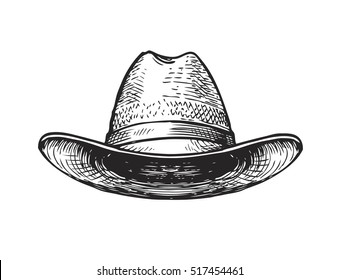 Hat farmer, gardener or cowboy. Sketch vector