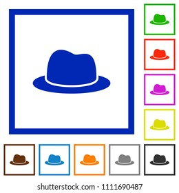Hat flat color icons in square frames on white background