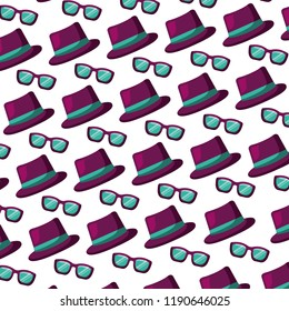 hat and glasses accessories carnival party pattern
