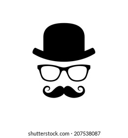 Hat, Glasses and Mustache Set. Vector illustration