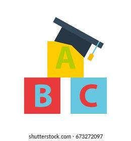 hat graduation with alphabet blocks