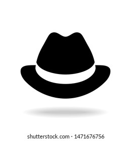 Hat graphic icon. Black hat sign isolated on white background. Vector illustration