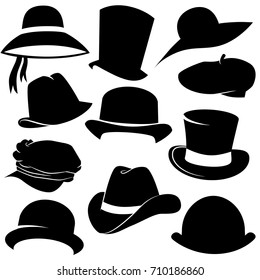 Hat icon set isolated on white background. Vector art.