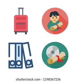 hat icon set. vector set about blinder, graduate, diploma and suitcase icons set.