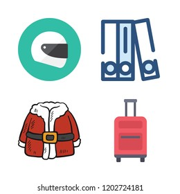 hat icon set. vector set about helmet, blinder, santa claus and suitcase icons set.