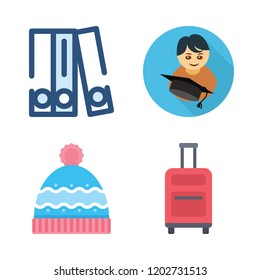 hat icon set. vector set about blinder, winter hat, graduate and suitcase icons set.