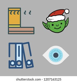 hat icon set. vector set about blinder, visibility, elf and hanger icons set.