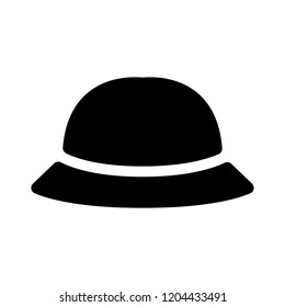 hat icon, vector bowler hat silhouette, retro fashion hat