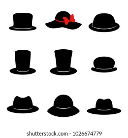 Hat icons. Collection of black different hats isolated on white background. Vector illustration.