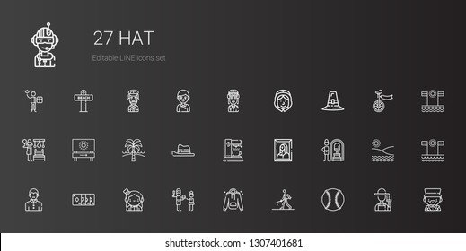hat icons set. Collection of hat with baseball, farmer hoeing, hoodie, father, magician, magic trick, vampire, russian banya, painting, coffee maker. Editable and scalable hat icons.