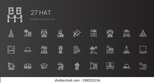 hat icons set. Collection of hat with beach, pilot, farmer, mortarboard, crown, magician, scarf, coffee maker, toga, graduation, pamela, top hat. Editable and scalable hat icons.