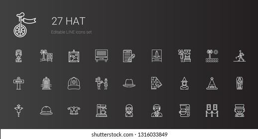 hat icons set. Collection of hat with coffee maker, doorman, student, joker, scarecrow, witch, scarf, father, cap, police box, beach, russian banya. Editable and scalable hat icons.