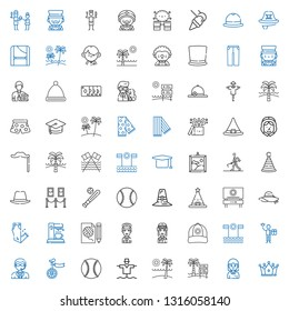 hat icons set. Collection of hat with crown, student, beach, scarecrow, baseball, unicycle, doorman, worker, cap, pilot, fashion, coffee maker. Editable and scalable hat icons.