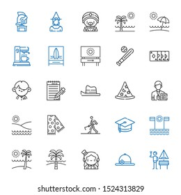 hat icons set. Collection of hat with german, pamela, magician, beach, mortarboard, farmer hoeing, scarf, journalist, wizard, student, magic trick. Editable and scalable hat icons.